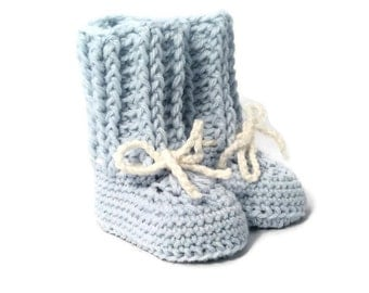 Blue Crochet Baby Booties Merino Wool Newborn Crib Shoes Baby Slippers Knitted Baby Booties Boy Baby Gift by Warm and Woolly on Etsy