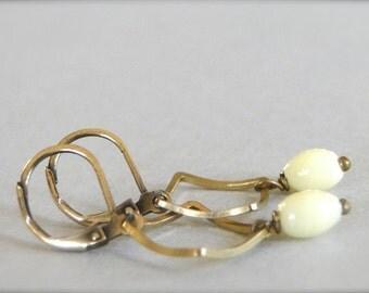 SALE Earrings, Dangle Earrings, Vintage German Glass, Natural Brass Dangle Earrings, Pale Yellow Glass Earrings, Boho Chic Drop Earrings