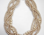 Champagne braided twisted chunky statement pearl necklace