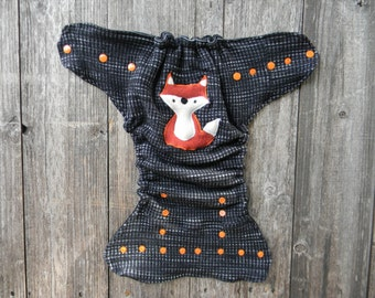 Upcycled  Merino Wool Nappy Cover Diaper Wrap Cloth Diaper Cover One Size Fits Most Black & Gray Pattern With Fox Applique/ Black