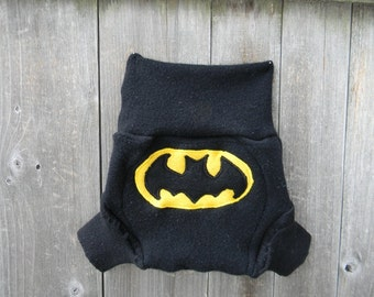 Upcycled Cashmere  Soaker Cover Diaper Cover With Added Doubler Black With Batman Applique MEDIUM 6-12M Kidsgogreen