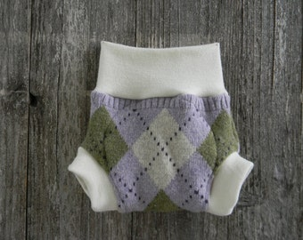Upcycled Wool And Organic Merino Wool Interlock Soaker Cover Diaper Cover With Added Doubler Lavender/ Green/ White Argyle   SMALL 3-6M