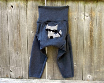 LARGE Upcycled Merino Wool Longies Soaker Cover Diaper Cover With Added Doubler Steel Blue  With Sneaky Raccoon Applique 12-24M