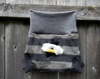 Upcycled Merino Wool Soaker Cover Diaper Cover With Added Doubler Gray Stripes With Bumble Bee Applique LARGE 12-24M