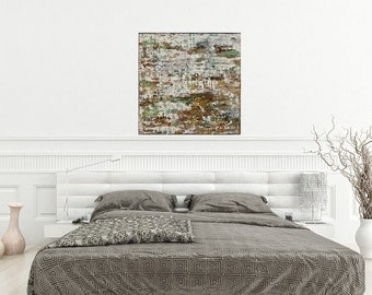 Original Texture Abstract Painting Contemporary Canvas Wall Art 24 X 24 White Tree Painting
