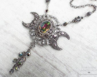 The Faerie Queene - Triple Moon Necklace -  Enchanted Rainbows Fantasy Necklace with vitrail glass, swarovsky, fairy queen
