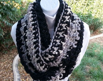 Chunky Black, Gray Grey, Off White Infinity Scarf Loop Cowl, OOAK Striped Soft Thick Bulky Crochet Knit Winter Endless Circle, Ready to Ship