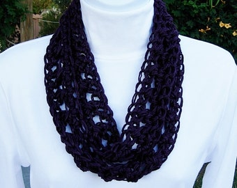 Soft Bamboo & Silk OOAK SUMMER SCARF Small Infinity Loop, Solid Dark Eggplant Purple, Lacy Crochet Knit Narrow Skinny Cowl..Ready to Ship