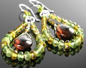 Topaz Green Long Hoop Earrings Sterling Silver Earrings Bohemian Glass Beaded Hoops Smoky Topaz Olive Green Drop Earrings Boho Jewelry