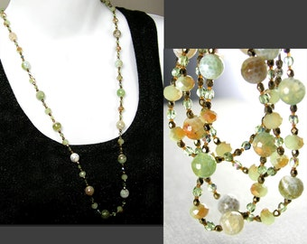 Green Brown Agate Necklace Natural Stone and Crystal Necklace Opal Green Beaded Necklace Long Strung Necklace