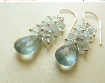 SALE Moss Aquamarine drop with clear Aquamarine cluster earrings. March birthstone earrings. Aquamarine earrings. Mother's Day gift