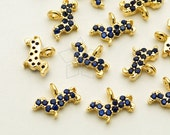 PD-1572-GD / 2 Pcs - Tiny Mini Delicate CZ Dachshund Charm, Dog Pendant (Cobalt Blue), Gold Plated over Brass / 8mm x 5.6mm