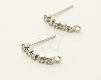 SI-697-OR / 4 Pcs - Rhinestone Chain Stud Earring Findings, Silver Plated, with .925 Sterling Silver Post / 17mm
