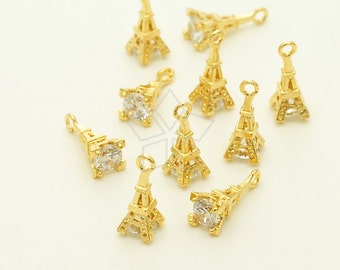 PD-1354-GD / 2 Pcs - Tiny Mini CZ Eiffel Tower Charms, Gold Plated over Brass / 4mm x 11mm