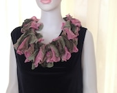 Scarf, hand knit, variegated, pink,green, wonderful, super soft and stylish, new lace fashion  spring and summer