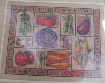Cross Stitch Kit Vegetable Sampler Sunset Picture Never Opened 1997 Kitchen Decor