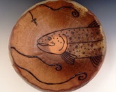 """Serving Bowl, """"Dry Fly Fishing For A Big Brown Trout"""", Wood Fired Stoneware."""