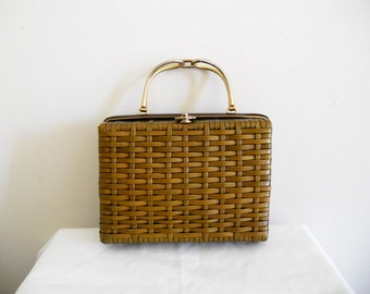 Vintage Wicker Purse Handbag by Lesco Lona Hong Kong Tan Wicker Rattan Gold