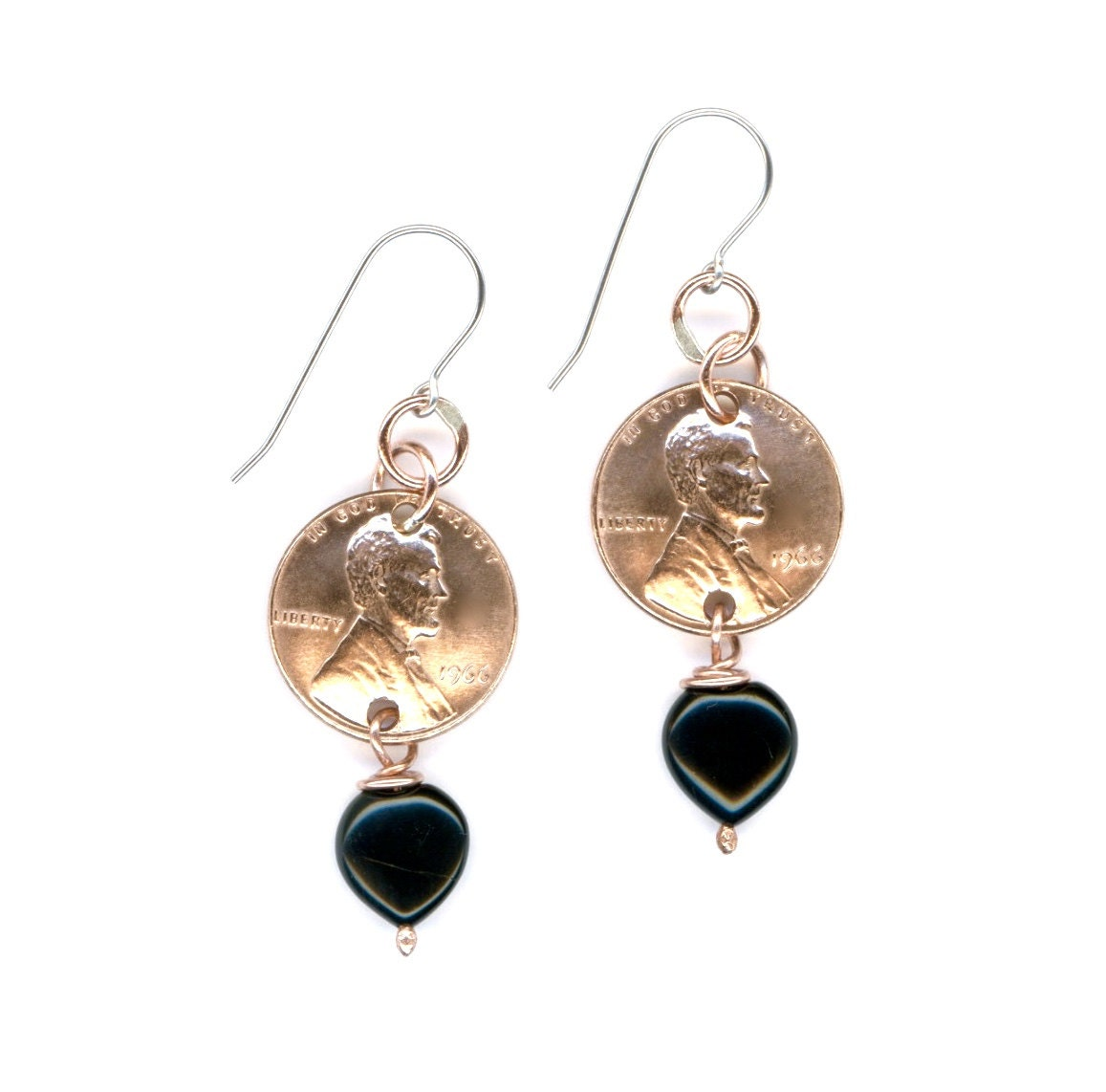 50th Birthday Gift Jewelry 1966 Penny Earrings By
