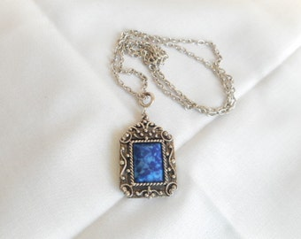 Vintage Silver Tone Blue Marble Stone Necklace