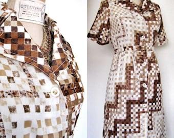 SALE Vintage Japanese Cotton Checker Step Dress