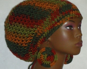 Autumn Boo Crochet Large Tam Cap Hat with Drawstring and Earrings by Razonda lee Razondalee Made to Order