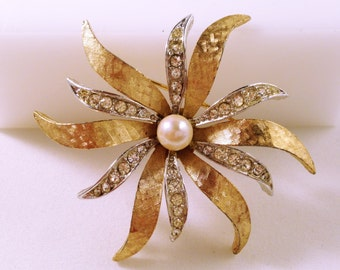 Pearl Boucher Brooch, Vintage Jewelry, Floral Brooch, Rhinestone Brooch, Rhinestone Jewelry, Boucher Jewelry, Vintage Brooch, Floral Pin