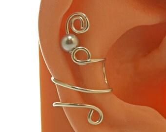 Swarovski Silver Pearl Sterling Non Pierced Ear Cuff
