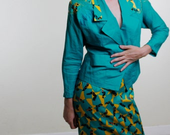 Vintage 80's two piece blazer & skirt set, bright teal, yellow and black geometric accents, shoulder pads, faux lizard skin - Medium