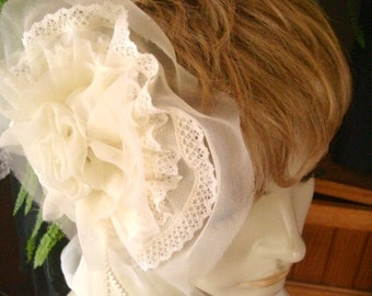 Wedding Headpiece Fascinator Cream lace pearl silk OOAK  hand stitched