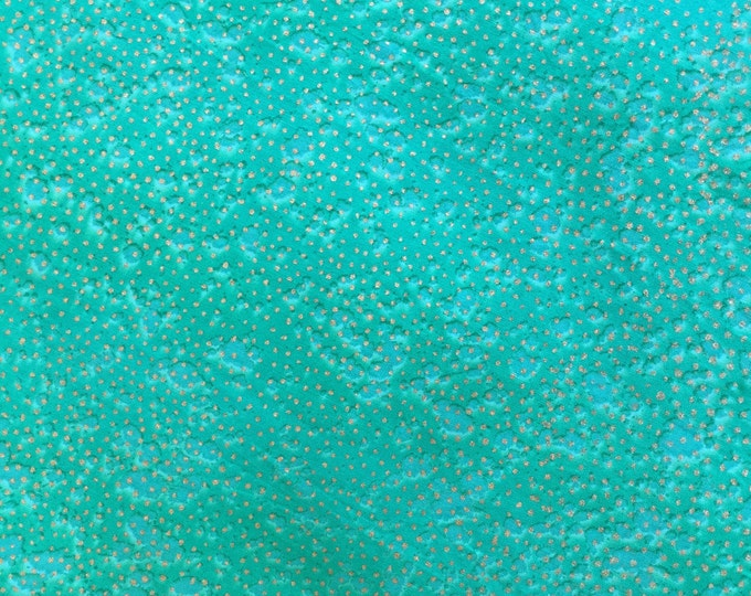Green Gold dots Hand dyed batik fabric quilt fabric by the yard Fat quarter 100% cotton fabric yardage