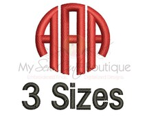 """Circle Monogram Font Embroidery - 3 Sizes - BX Embroidery Font Included - 4"""", 5"""" and 6"""" - Instant Download"""