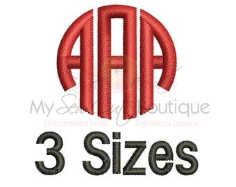 "Circle Monogram Font Embroidery - 3 Sizes - BX Embroidery Font Included - 4"", 5"" and 6"" - Instant Download"
