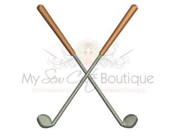 Crossed Golf Clubs Embroidery Design - Machine Embroidery Designs - 6 Sizes - Instant Download