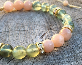 CLOUDLESS- Prehnite and Sunstone Wrist Mala Bracelet.