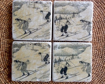 Marble Stone Coaster Set - Vintage Ski - Rustic - Drink Tile - Ski Decor - Ski - Lodge - Alpine - Cabin - Coaster