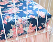 Navy Floral changing pad cover , Navy Floral crib sheet