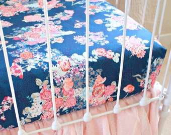 Navy Floral changing pad cover , Navy Floral crib sheet, coral geometric fitted crib sheet