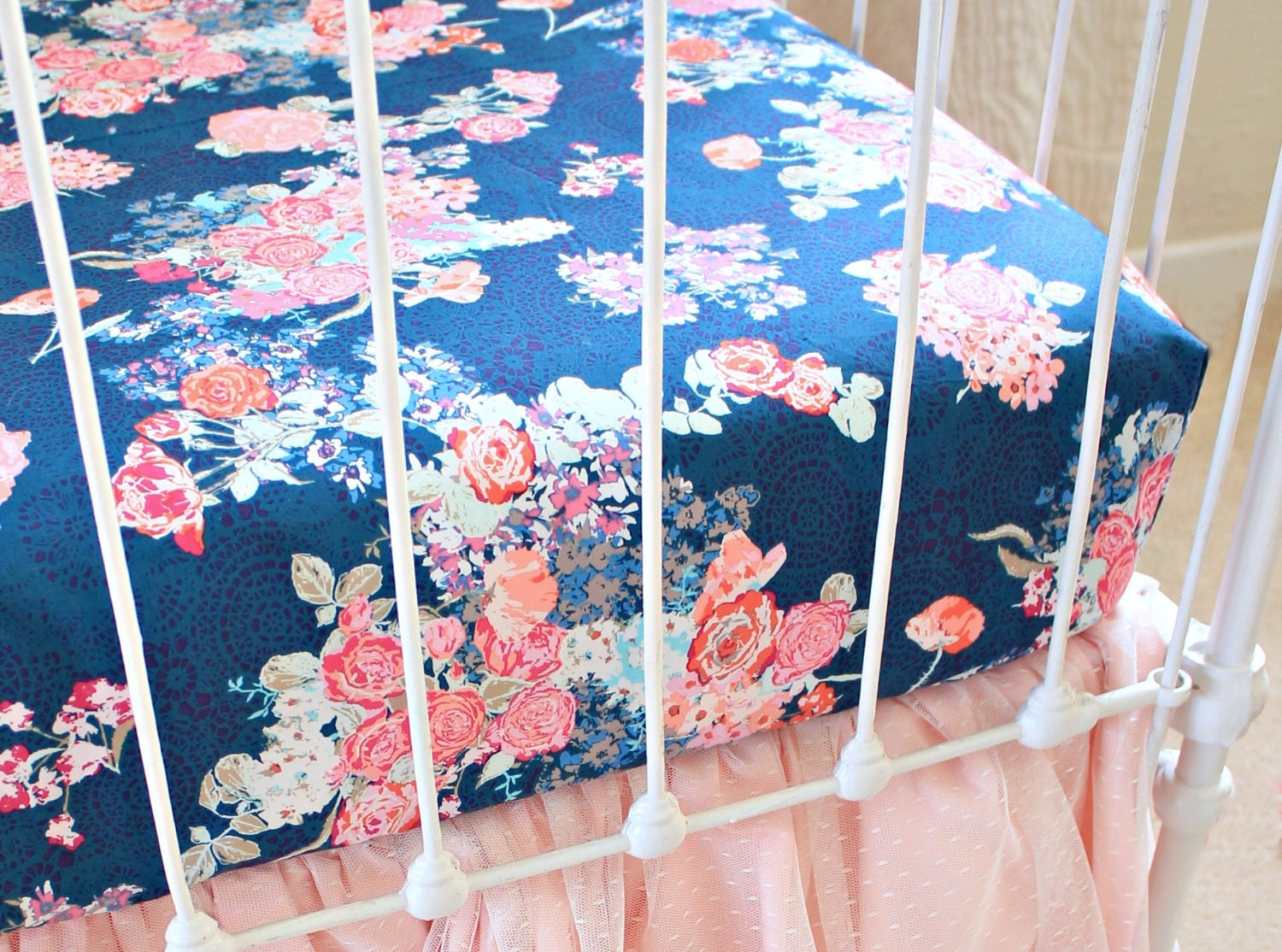 Navy Floral Changing Pad Cover Navy Floral Crib Sheet Coral