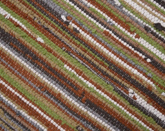 Handwoven Rug - 27x 42 woven from Recycled T Shirts-Green, Taupe, Rust.  Washable & Reversible