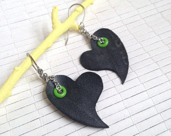 Black Heart with Green Rivet Earrings - eco friendly upcycled rubber