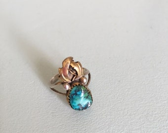 navajo rose gold + sterling silver turquoise ring