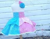 Sleeping Beauty inspired Dress Up Costume Apron, Half Apron, Make it Pink/Blue Style....Made to Order