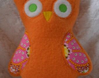 Handmade Stuffed Orange Fleece Owl toy Softie
