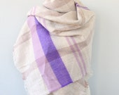 Soft blanket scarf chunky scarf tartan fall scarf oversized scarf vegan scarf winter scarf cream purple scarf christmas gift idea for her