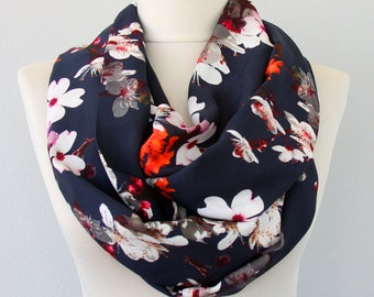 Navy infinity scarf floral scarf navy blue scarf sakura flower print circle scarf fall fashion christmas gift for her holiday gift idea
