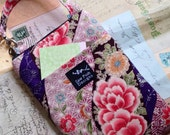 Pink Purple Asian Japanese Oriental Fabric Iphone Galaxy Smartphone Zipper Pocket Pouch Washable Case Camera Bag Crossbody Sling Small Purse