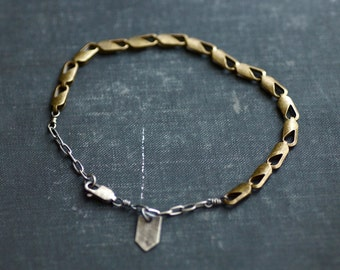 Sterling and Brass Antique Chain Bracelet with Charm