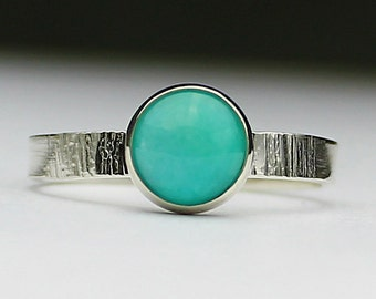 Size 9.25 Ring Handcrafted Sterling Silver Amazonite Ring Natural Stone Minimalist Contemporary Artisan Jewelry Desgin OOAK 1694174421414