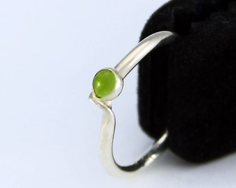 Size 8 Ring Handcrafted Sterling Silver Green Peridot Natural Stone August Birthstone Stackable Contemporary Artisan Jewelry  069247263615
